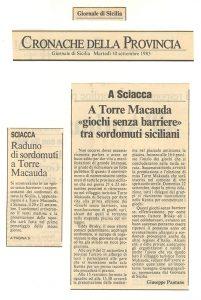 Giornale di Sicilia 1985 Torre Macauda Giochi senza barriere